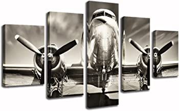 KLVOS - 5 Pieces Vintage Wall Decor Painting Retro Airplane on The Runway Premium Quality Canvas Printed Wall Art Poster with Wooden Frame for Living Room Ready to Hang 32