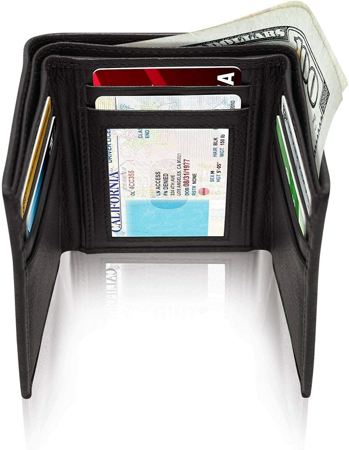 Real Leather Slim Wallets For Men Trifold Mens Wallet W/ ID Window RFID Blocking (Black Smooth)