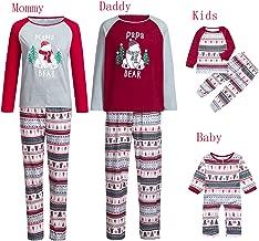 Papa Mama Kids Baby Christmas Matching Family Pajamas Sets Holiday Sleepwear Bear Long Sleeve Long Pants Soft Pjs