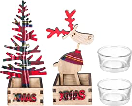 OSALADI Castiçais votivos de Natal com design de rena e árvore de Natal, suportes de vela de madeira, peças decorativas de...