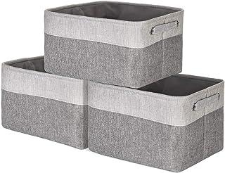 HJQL Panier De Rangement Pliable, Grande Boîte en Tissu À Bacs Pliables, avec Poignées, Gris Clair/Foncé, Lot De 3 Paniers