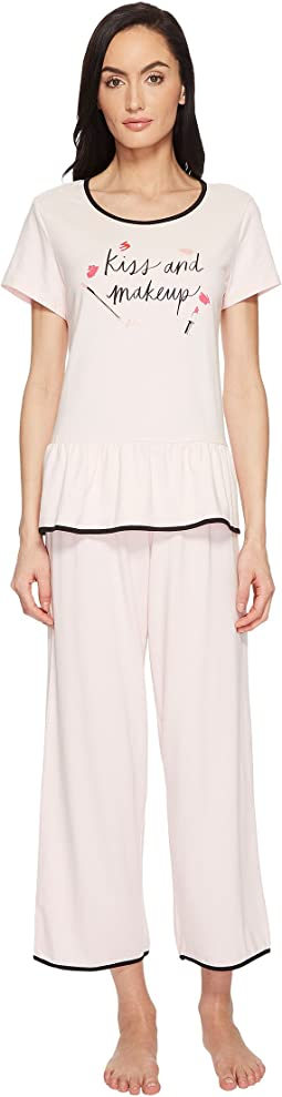 "Kate Spade New York ""Kiss & Makeup"" Cropped Pajama Set"