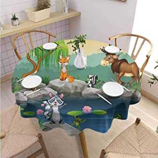 DILITECK Cartoon Print Round Tablecloth Funny Mascots Animals by The Lake Moose Fox Squirrel Raccoon Kids Nursery Theme and Durable Diameter 36