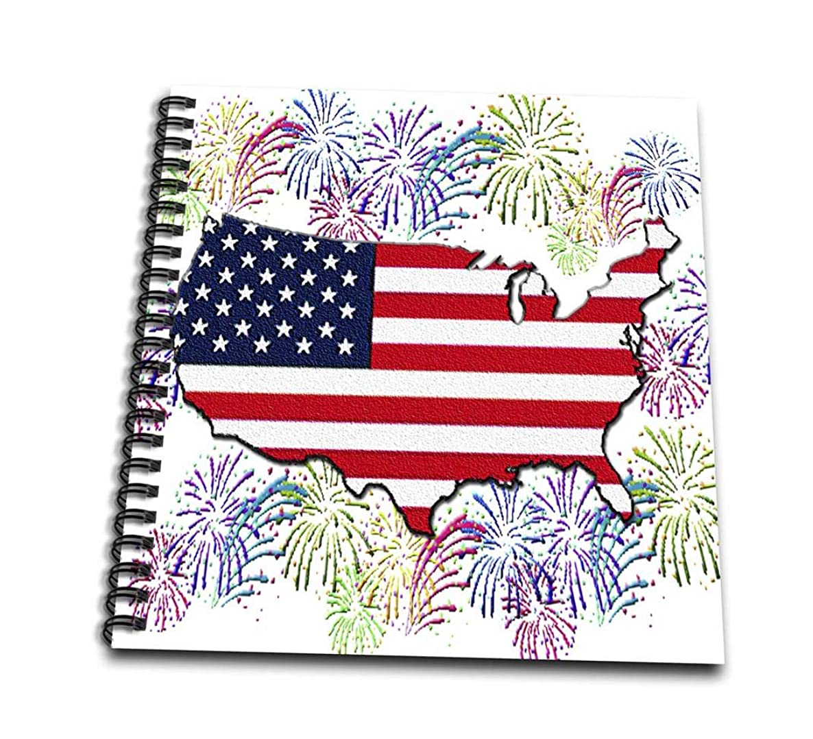 3dRose db_50743_2 USA Flag Map with Fireworks Textured-Memory Book, 12 by 12-Inch