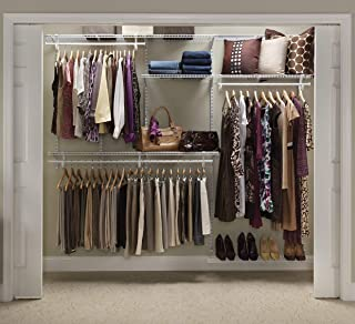 ClosetMaid 22875 ShelfTrack 5ft. to 8ft. Adjustable Closet Organizer Kit, White (Renewed)
