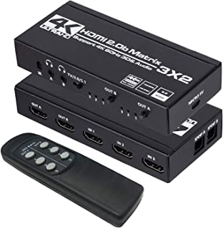 HDMI Matrix 3x2, 4K HDMI Matrix Switch 3 in 2 Out Switcher Splitter Box with EDID Extractor and IR Remote Control, Support...