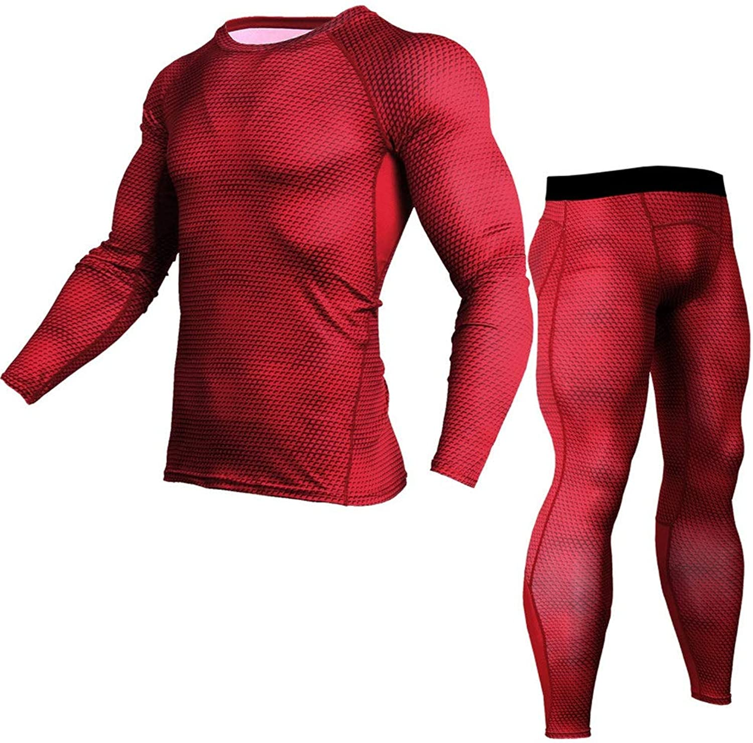 Fitness Clothing Workout Tracksuit Mens Long Sleeve Base Layers Shirts+Compression Pants for Workout Training Running (color   Red, Size   L)