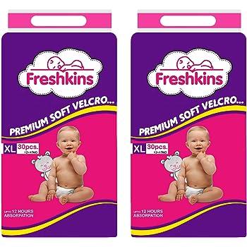 Freshkins Taped Diaper (White, XL) - Pack of 2, 60 Unit