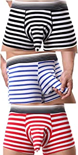 AOQIANG Elephant Trunk Striped Cotton Pouch Boxer Briefs Airplane Sexy Underwear for Men