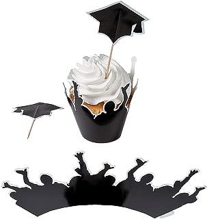 Fun Express - Graduation Cupcake Collars W/Picks for Graduation - Party Supplies - Serveware & Barware - Picks & Stirrers & Parasols - Graduation - 100 Pieces