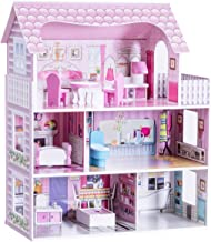 Costzon Dollhouse, Toy Family House with 13 pcs Furniture, Play Accessories, Cottage Uptown Doll House, Doll Playhouse Cottage Set (Three Levels)