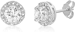 LESA MICHELE Sterling Silver 1/10 Cttw Genuine Diamond & Laboratory Created White Sapphire Stud Earrings for Women Bridal Jewelry (Various Colors)