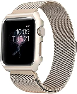 BONSTRAP Strap Milanese Loop 38mm Gold with Metal Case Compatible AW 38mm