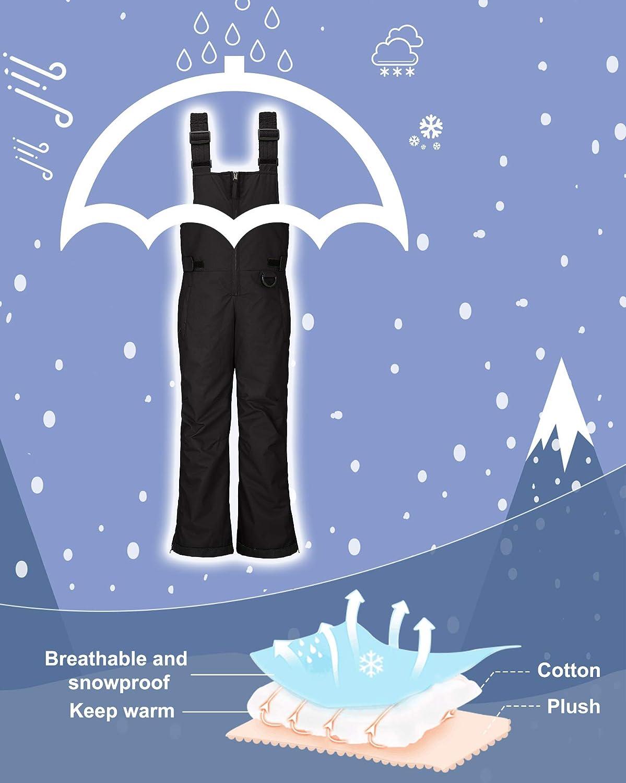Wantdo Boys Waterproof Winter Snow Pants Bib Overalls