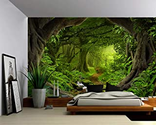 Picture Sensations Canvas Texture Wall Mural, Landscape Fantasy Enchanted Magical Forest, Self-Adhesive Vinyl Wallpaper, Peel & Stick Fabric Wall Decal - 96x66