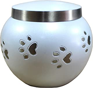 eSplanade Pet Cremation Urn Memorials urn Container Jar Pot | Brass Urn | Metal Urn | Burial Urn | Memorials Keepsake | Pet Dog Cat urn (White 30 lbs)