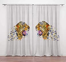 Timingila White Tiger Face Animal Printed 2 Pcs Door Curtains for Bedroom Rod Pocket Window Curtain Decorative Home Access...