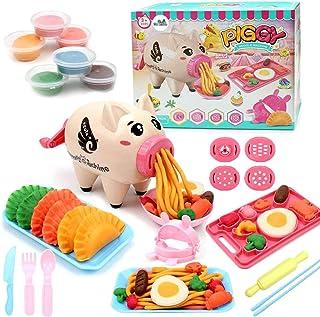 Deardeer Play Dough Sets Playdough Playsets Noodle Machine Fun Kitchen Toy for Kids Children - 21pcs