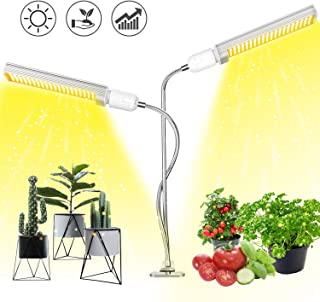 Plant Light, Aokrean 2019 Upgraded 100W Full Spectrum LED Grow Light for Indoor Plants, 360° Dual Head Gooseneck Office Plant Lamp for Seedling Growing Blooming Fruiting