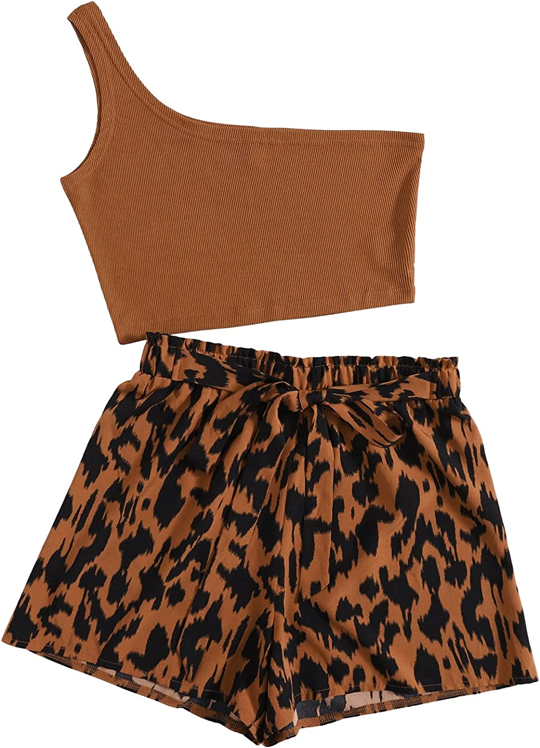 SOLY HUX Women's Plus Size One Shoulder Crop Top with Shorts Set 2 Piece Outfits