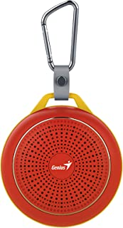 Genius Bluetooth Speaker Sp-906Bt, 5 Hours Play Time, 500Mah Battery With Carabiner, Glowing Red