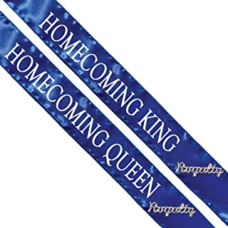 Homecoming King and Queen Sashes, 2 Pack Blue Sash with White Imprint 72 Inches x 3 Inches, 2 Royalty Pins