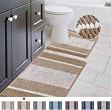 Original Striped Shaggy Chenille 2 Piece Bath Rug Set, 20x20 Square U-Shape Contoured Toilet Mat & 32x20 Carpet Rug, Machi...