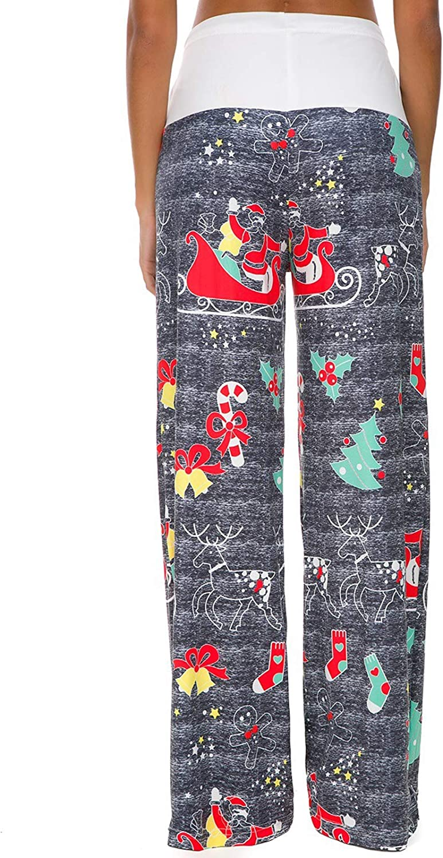 BITSEACOCO Womens Christmas Pajamas Wide Leg Lounge Pants Casual Santa Snow Print Stretch Palazzo Drawstring Pjs Pants