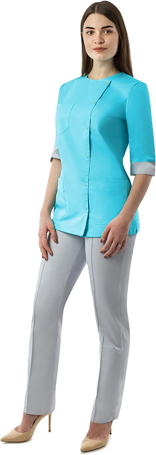 Scrubs Women's Slim Fit Set Medical Uniform Top Pants Doctor Nurse Lisa 3 4 Sleeve size Medium