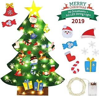 Idefair DIY Felt Christmas Tree 26 pcs Detachable Ornaments with String Light 3.2ft Wall Hanging Christmas Decorations
