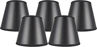 Meriville Set of 5 Black Paper with Gold Liner Chandelier Lamp Shades, 4-inch by 6-inch by 5-inch Clip on