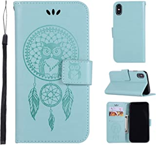 iPhone XR Case,iPhone XR Wallet Case,iPhone XR Filp Case,Owl Dreamcatcher Embossed PU Leather Card Holders Hand Strap TPU Inner Bumper Purse Case for iPhone XR 6.1 Inch Teal