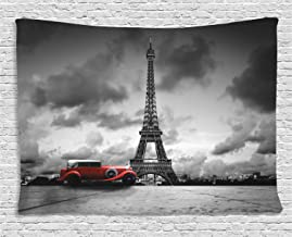 Ambesonne Eiffel Tower Tapestry, Image of Eiffel Tower Paris France Vintage Car Street Dark Clouds, Wide Wall Hanging for Bedroom Living Room Dorm, 80