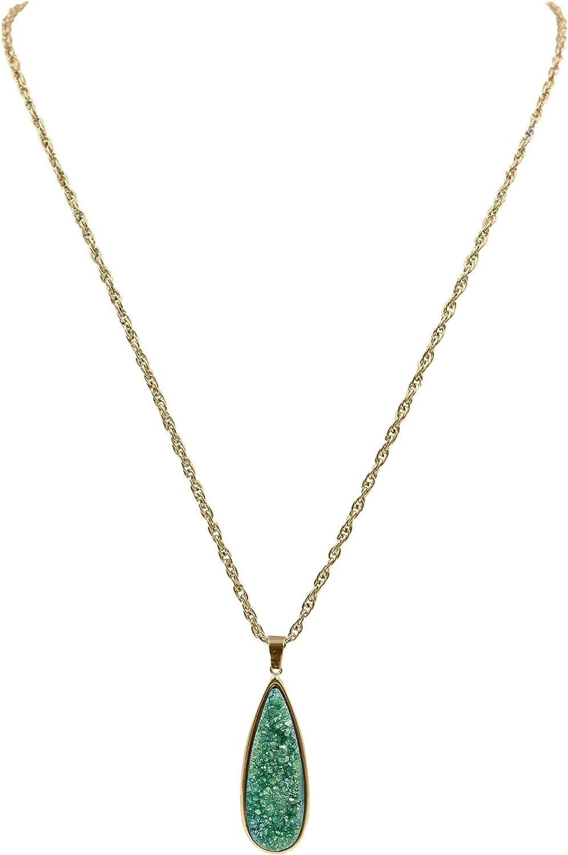 Kinsley Armelle Druzy Collection - Jade Quartz Drop Necklace