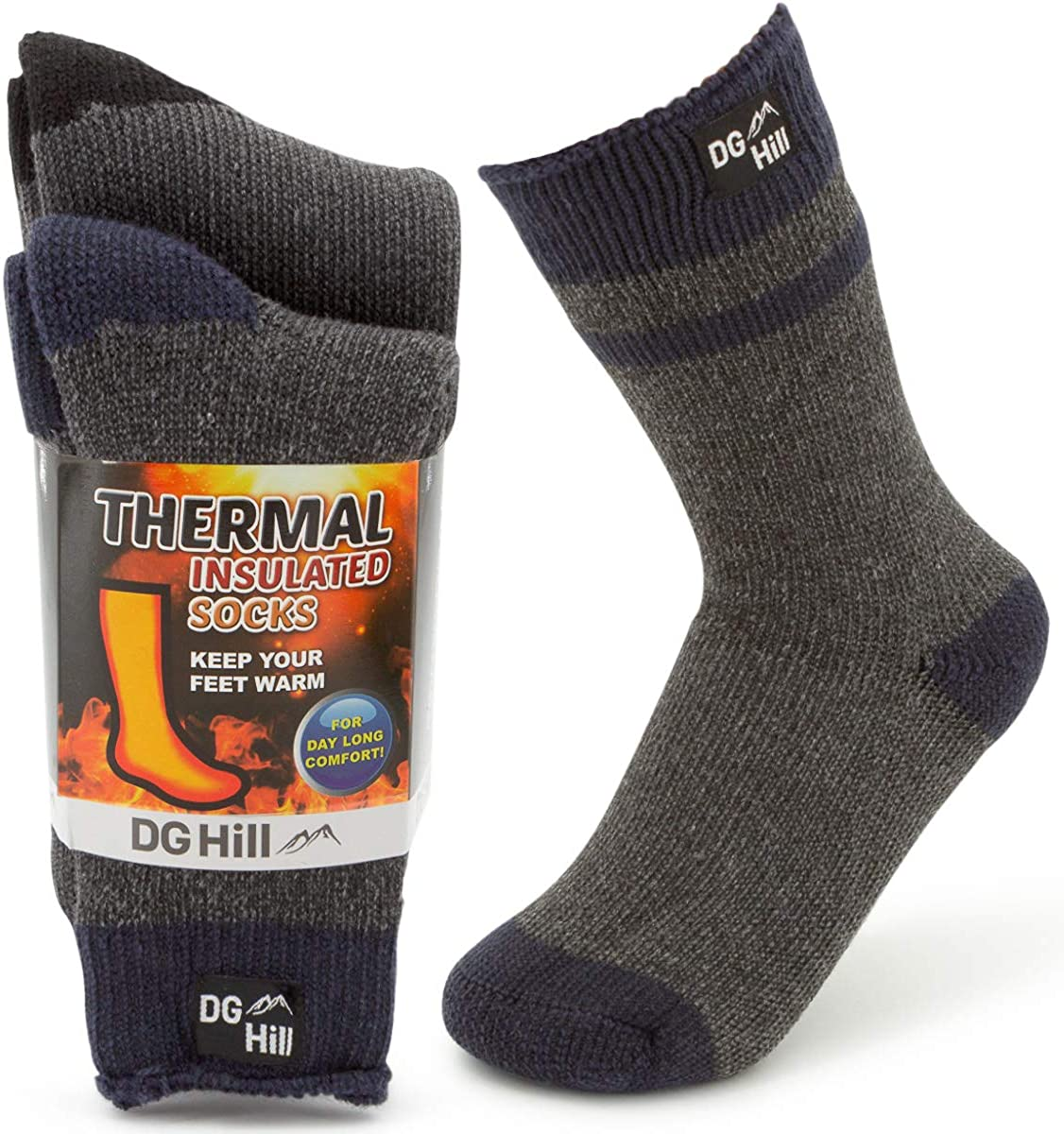 DG Hill (2pk) Kids Thermal Winter Socks Thick Insulated Heated Boot Socks for Cold Weather, Girls and Boys