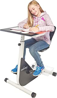 FitStudent Junior Bike Desk - Standing Desk Exercise Bike Pedal Machine with Stabilizer Wheels for Easy Movement - Height Adjustable Desk and Seat with Desk Top Storage