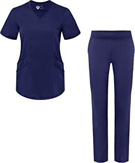 Adar Pro Scrub Set for Women - Tailored V-Neck Scrub Top & Tailored Yoga Scrub Pants