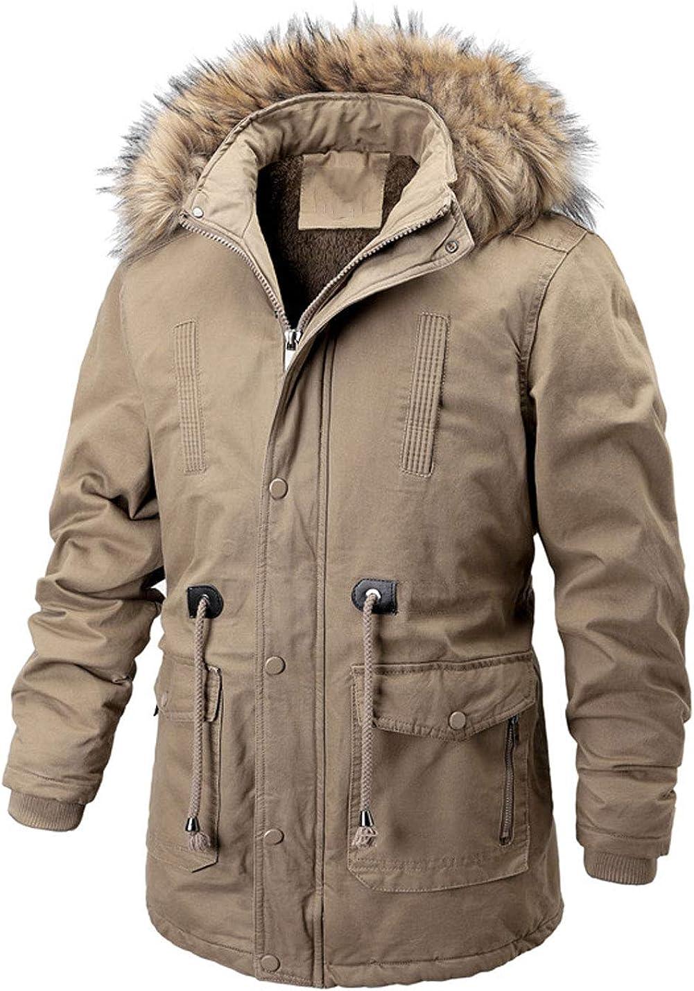 Yeokou Mens Casual Mid Long Fleece Lined Faux Fur Trim Hoodie Parkas Winter Coats