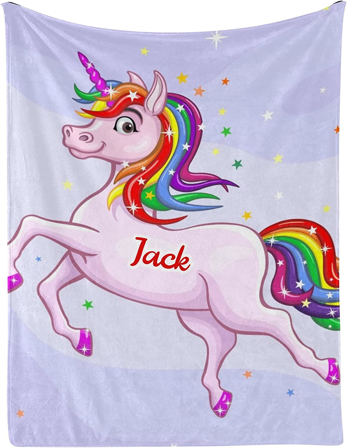 Colorful Unicorn Star Personalized Max 59% OFF Baby with Blankets 30x40 Name Ranking TOP6