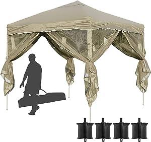 10x10 Pop Up Canopy with Mosquito Netting Ez Pop Up Gazebo Bug Protection Outdoor Gazebo Zippered Mesh Sidewalls for Patios, Gazebos on Clearance for Parties Backyard Wedding BBQ (Khaki)