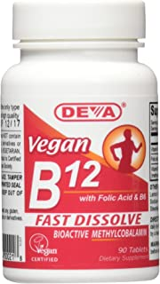 Deva Vegan Vitamins Sublingual B12 1000 mcg Tablets, 90 Count