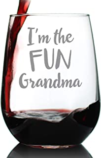 Fun Grandma – Cute Funny Stemless Wine Glass, Large 17 Ounce Size, Etched Sayings, Gift Box