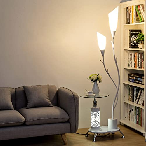 Lovely Light Modern Floor Lamp With Glass Shelves 2 White Acrylic Lampshade Metal