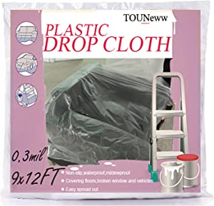 Plastic Drop Cloths 10 Piece for Painting, 9x12Ft Waterproof Furniture Dust Cover Plastic Sheet