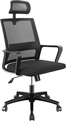 Office Chairs, Desk Chairs with Wheels, Tilt Angle Adjustable Headrest. Computer Task Chair for Kids,Adult, Home Office, Bedroom, Black Mesh High Back Executive Ergonomic Office Chair