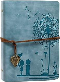 A5 دفتر مذكرات جلدية دفتر يوميات الهندباء العتيقة دفتر رسم السفر للفتيات النساء، 6 حلقات مقيدة A5 كتاب رسم 200 صفحة فارغة ...