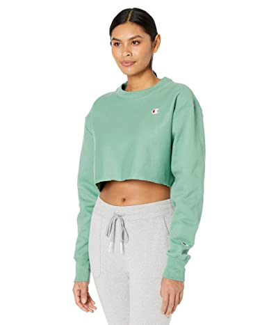 Champion LIFE Reverse Weave(r) Cropped Cut Off Crew (Thermal Green) Women
