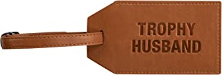 About Face Designs Trophy Husband On Men's Small Chestnut Luggage Tag