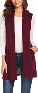 Beyove Womens Long Vests Sleeveless Draped Lightweight Open Front Cardigan Layering Vest with Side Pockets (S-XXL)