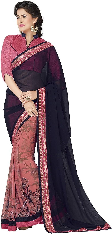 Da Facioun Wonderful Plain Pallu Saree in Black & pink Pink color